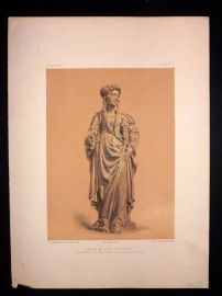 Waring 1863 Antique Print. Statue in Wood (15th Century)